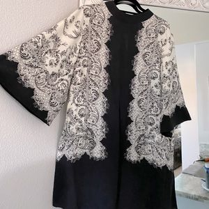 Black and white short dress